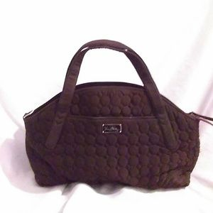 Vera Bradley large dark brown quilted satchel